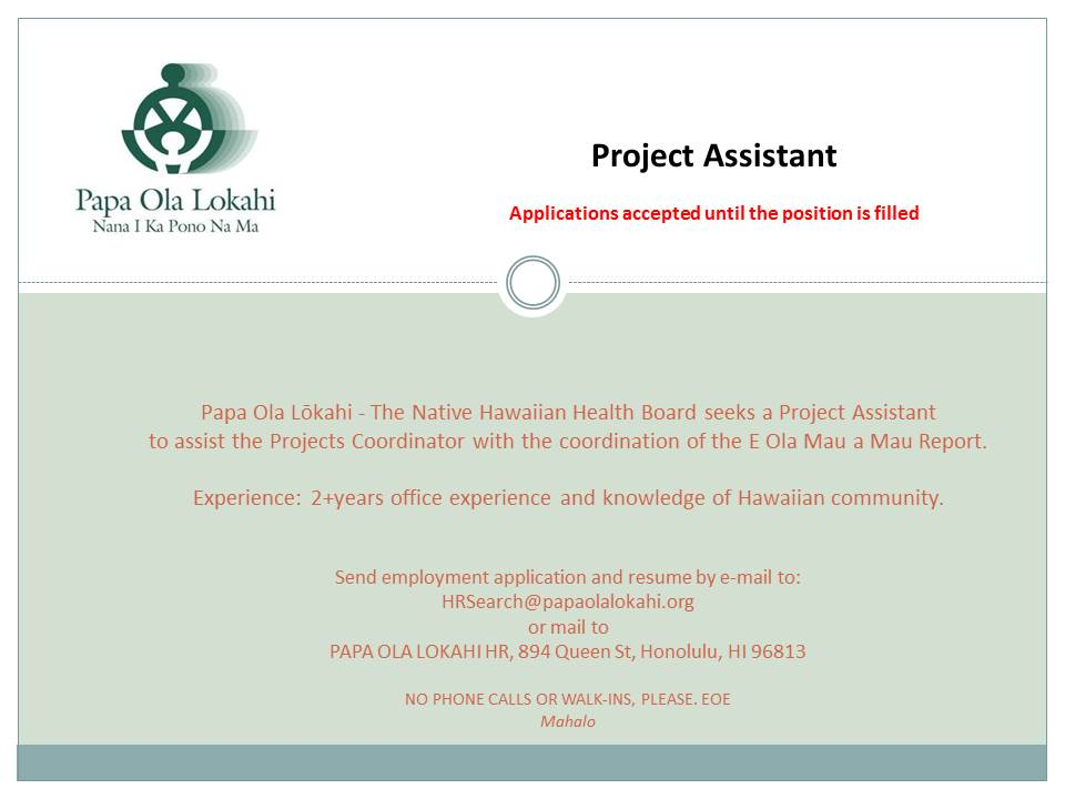 JOB POL Project Assistant 2015 0107